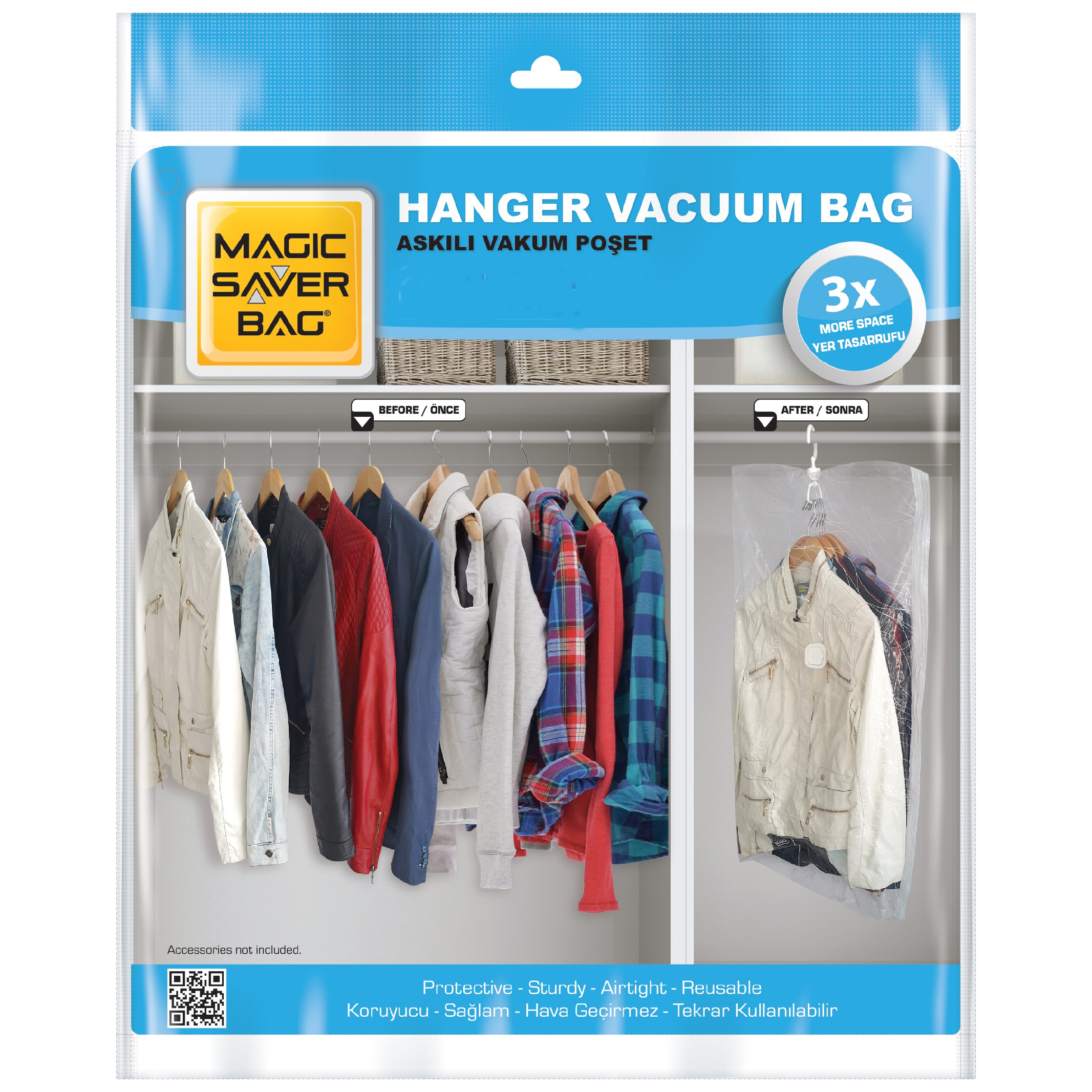 Magic Saver Bag 2'li Askılı Vakumlu Poşet Seti